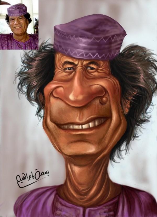القذافي في 10 تصميمات ساخرة
